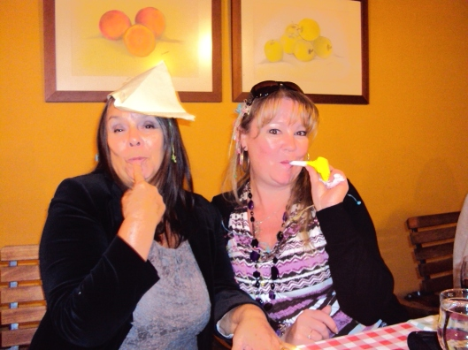 being silly again, this time with Jane at the Christmas lunch for the ladies coffee morning club